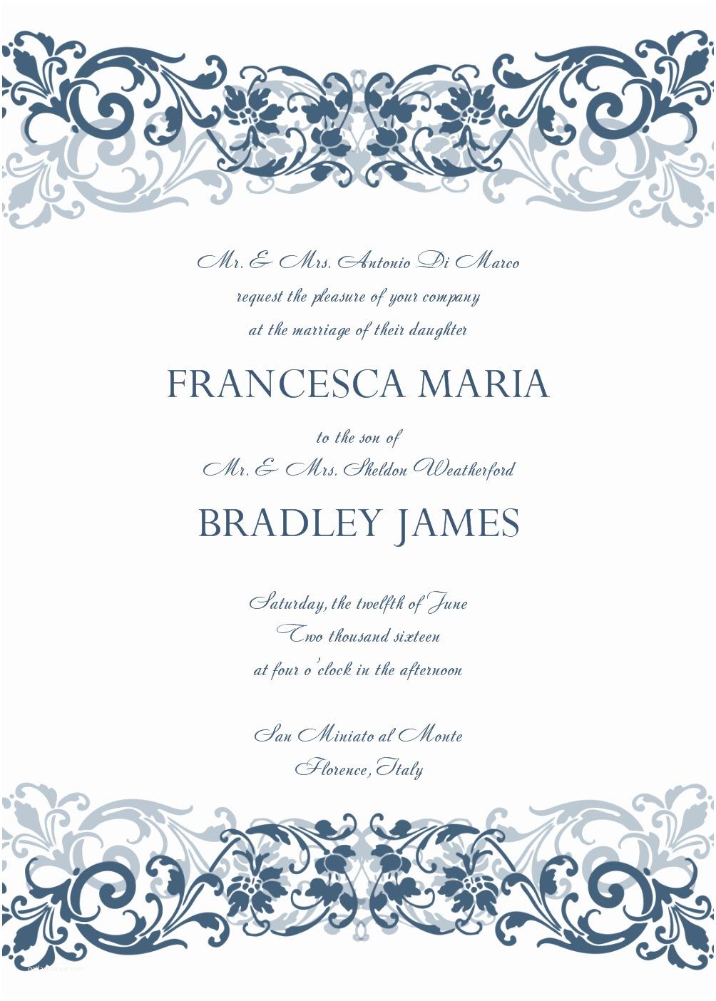 Wedding Invite Directions Template 8 Microsoft Word Wedding Invitation Templates