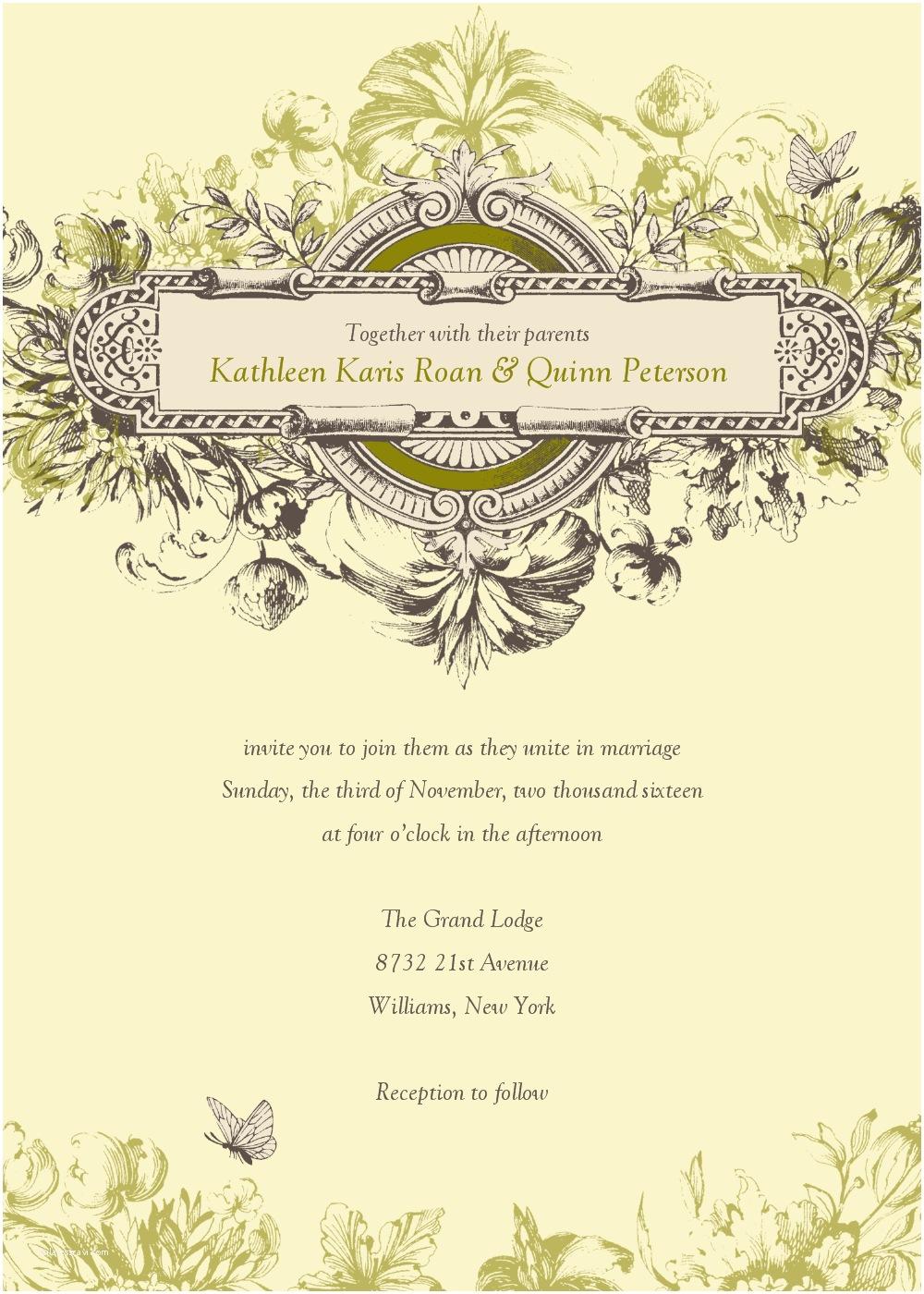 Wedding Invite Directions Template Vintage Wedding Invitation Templates