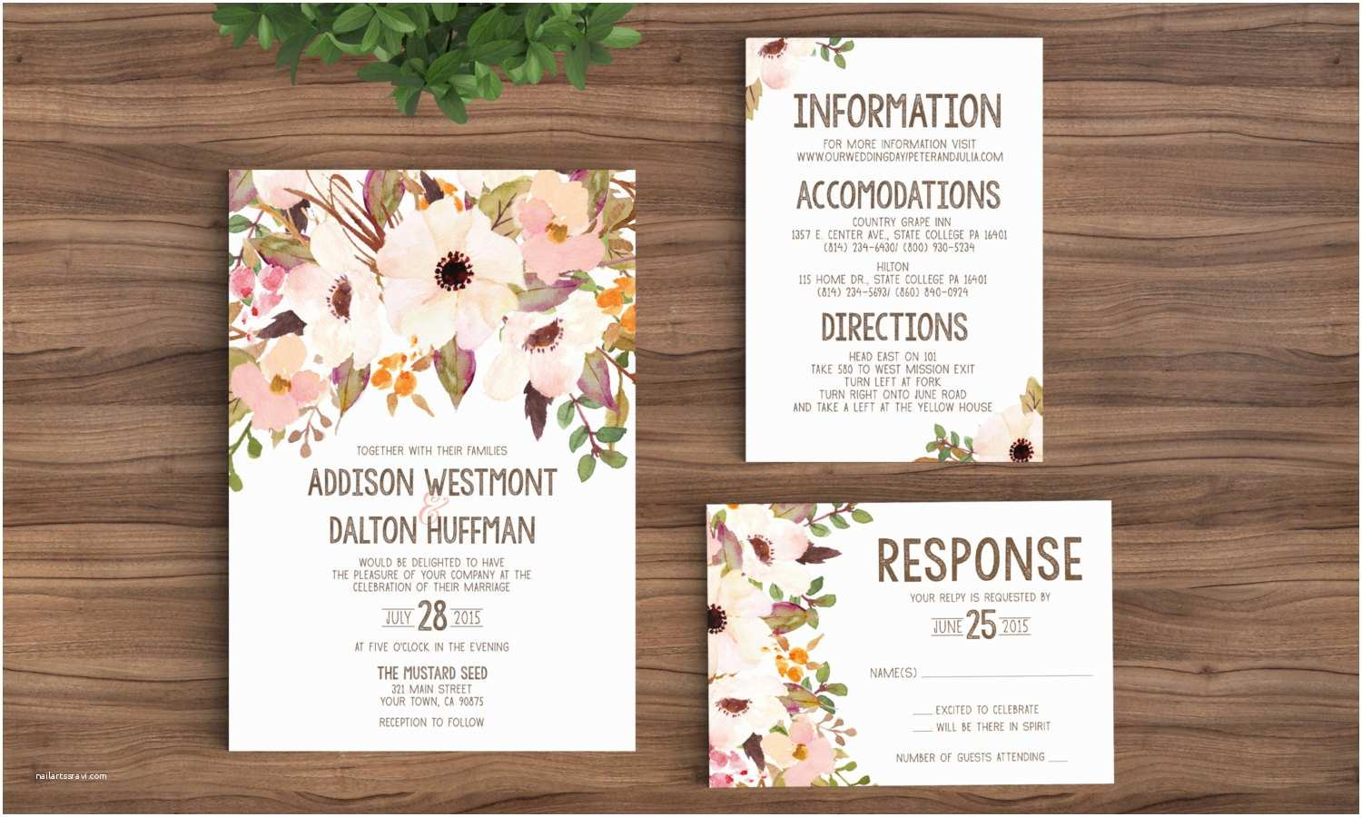 Wedding Invite Directions Template Wedding Invitation Template Printable Rustic Bohemian Floral