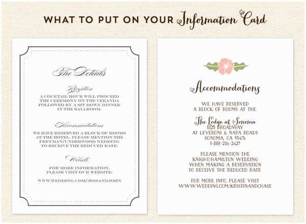 Wedding Invite Directions Template What to Put On Your Info Card