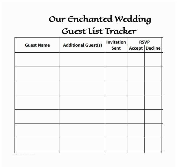 Wedding Invite List Template 16 Wedding Guest List Templates – Pdf Word Excel