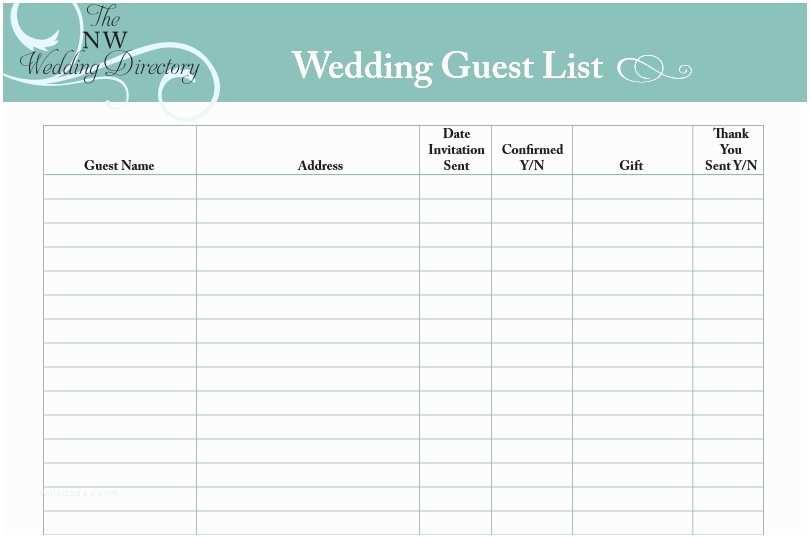 Wedding Invite List Template 30 Free Wedding Guest List Templates Templatehub