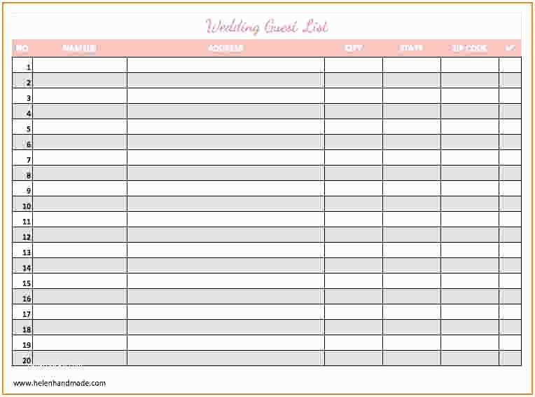 photograph relating to Printable Guest List Template identified as Marriage Invite Record Template 4 Printable Wedding day Visitor Record