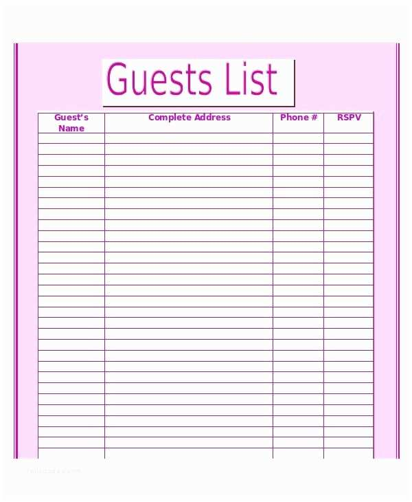 Wedding Invite List Template Printable Wedding Guest List
