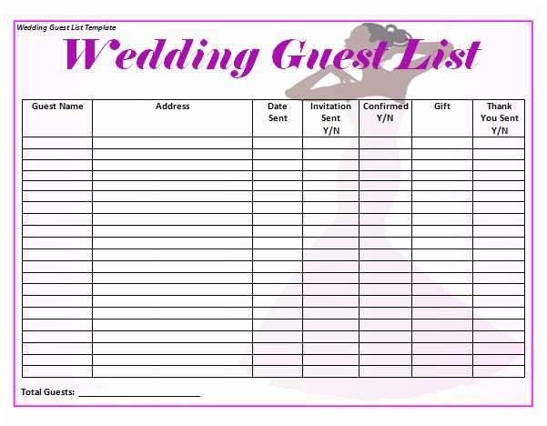 Wedding Invite List Template Sample Wedding Guest List Template 15 Free Documents In