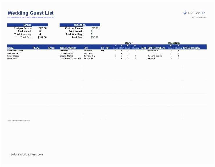 Wedding Invite Spreadsheet 8 Wedding Guest List Templates Sampletemplatess