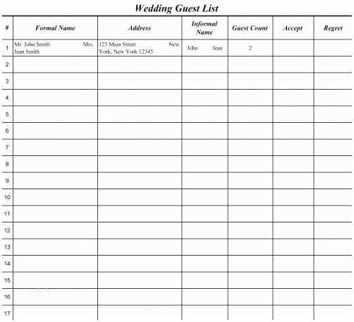 Wedding Invite Spreadsheet Wedding Guest List Template Nailartssravi