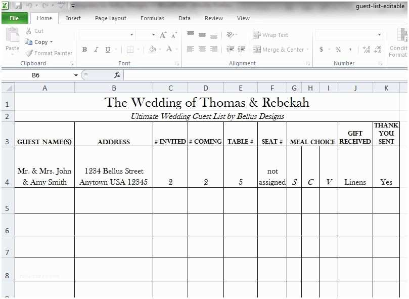 Wedding Invite Spreadsheet Free Downloadable Wedding Guest & Rsvp List