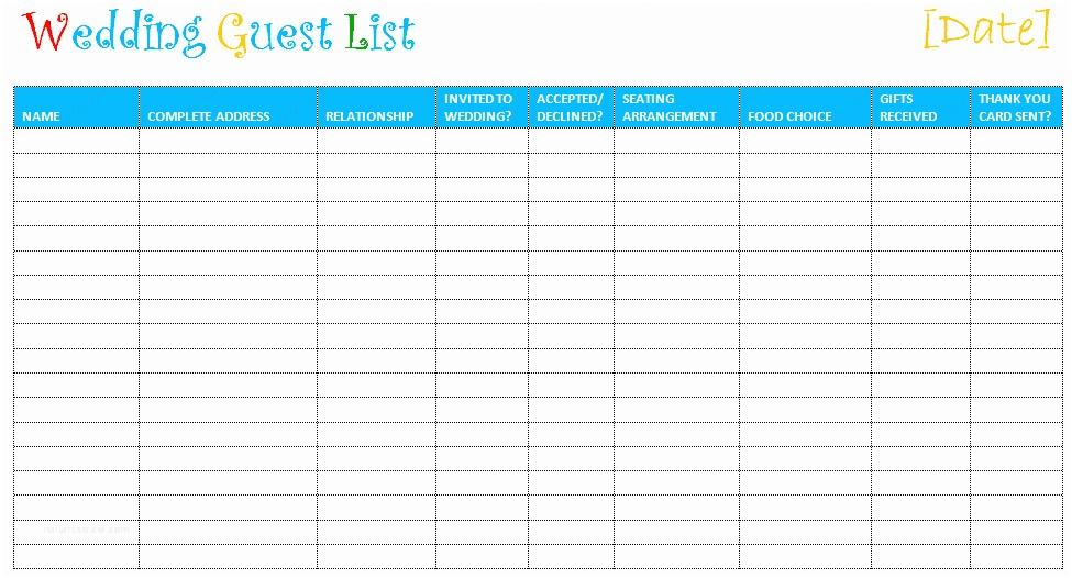 picture regarding Printable Wedding Guest Lists named Wedding ceremony Invite Spreadsheet Printable Wedding ceremony Visitor Record