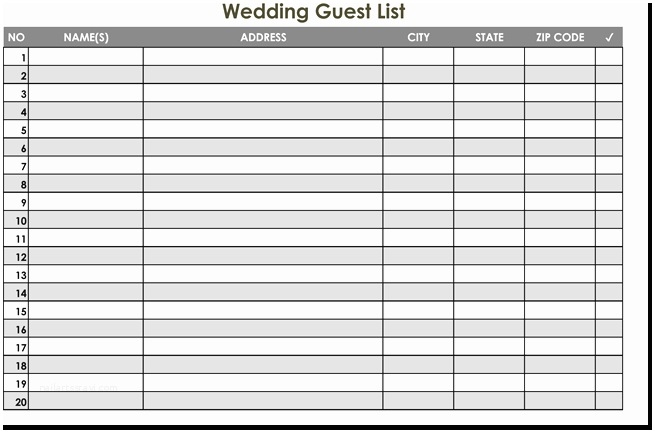 Wedding Invite Spreadsheet Wedding Guest List Spreadsheet Invite List Template 7