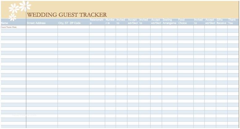 Wedding Invite Spreadsheet Wedding Guest List Template
