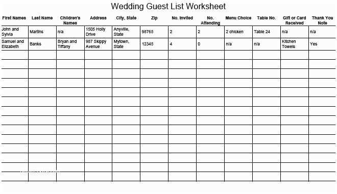 Wedding Invite Spreadsheet Wedding Guest List Worksheet