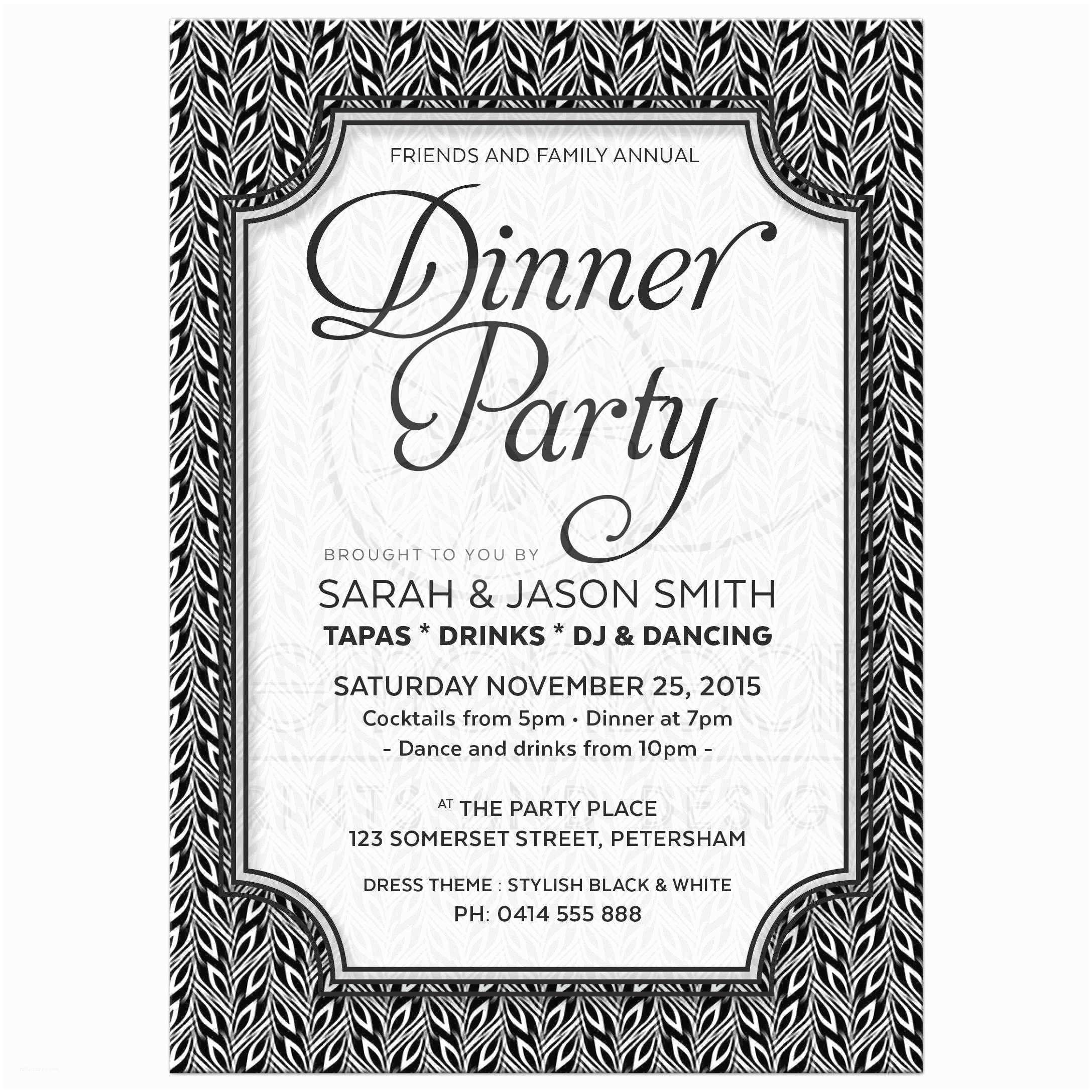 Wedding Party Invitations Anniversary Dinner Party Invitations