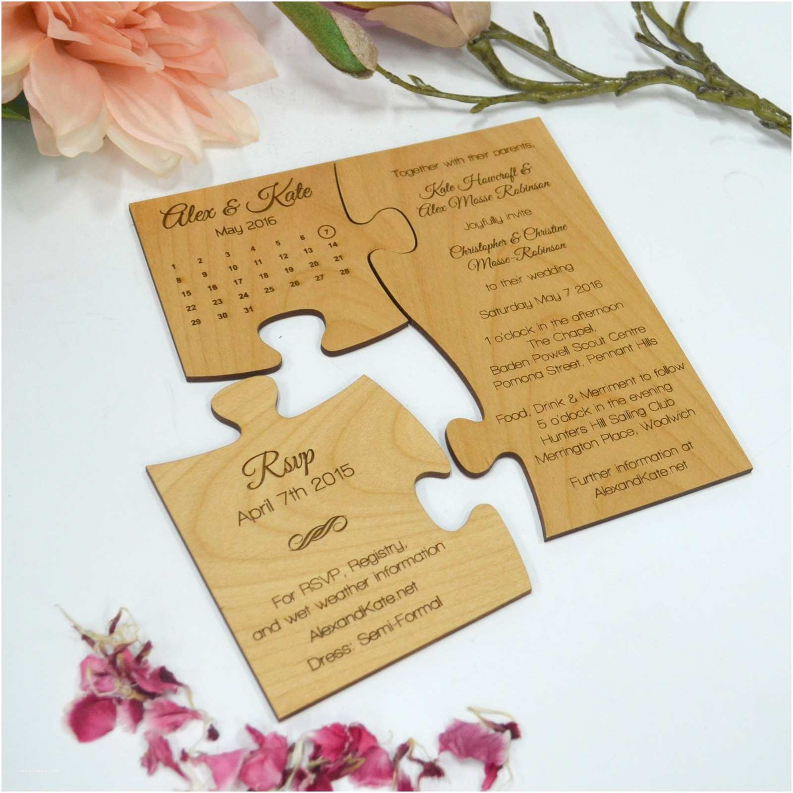 Wedding Party Invitations Engraved Wooden Save the Date Puzzle