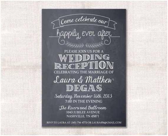 Wedding Reception Invitation Wedding Reception Celebration after Party Invitation Custom