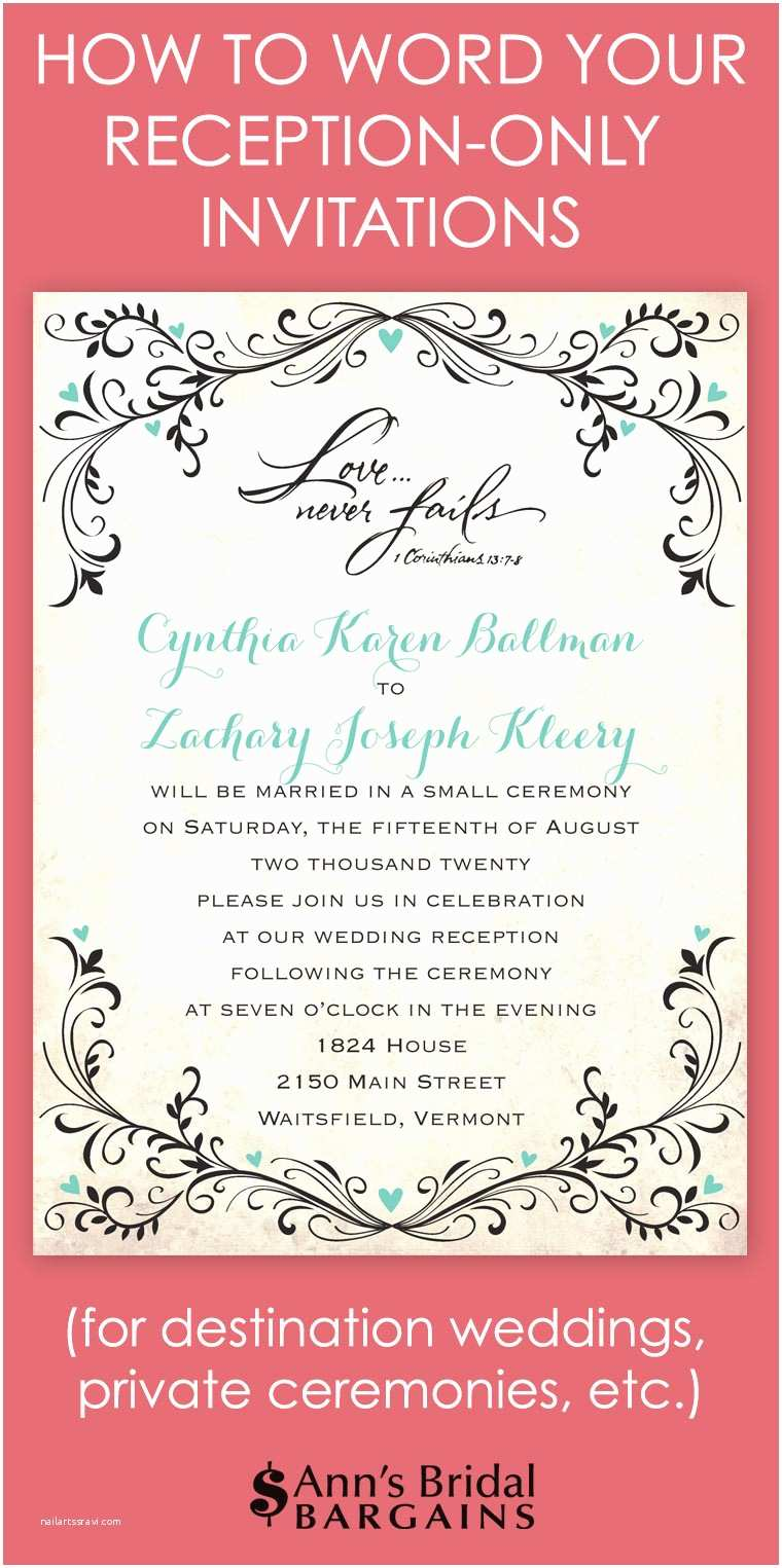 Wedding Reception Invitation Wording Already Married How to Word Your Reception Ly Invitations