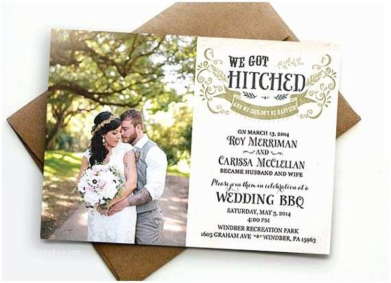 Wedding Reception Invitation Wording Already Married Post Wedding Reception Invitation We Got Hitched