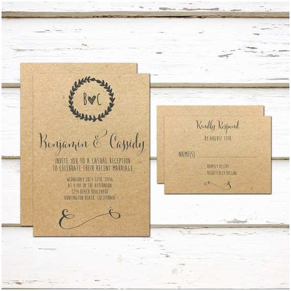 Wedding Reception Invitation Wording Already Married Printable Elopement Reception Invitation & Rsvp Card We