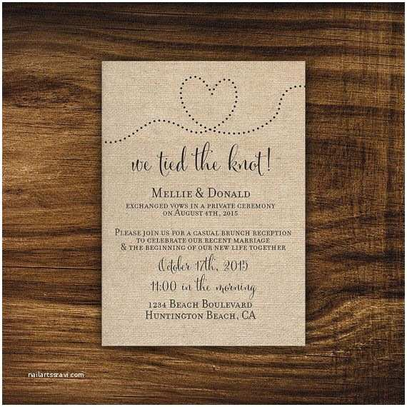 Wedding Reception Invitation Wording Already Married Printable Elopement Reception Invitation Reception Ly