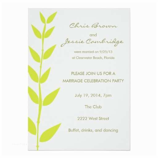 Wedding Reception Invitation Wording Already Married Spring Bamboo Already Married Party Invitation