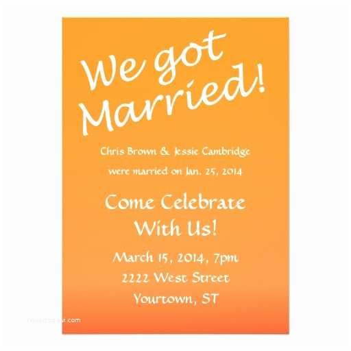 "Wedding Reception Invitation Wording Already Married We Got Married Post Wedding Party Invitation 5"" X 7"