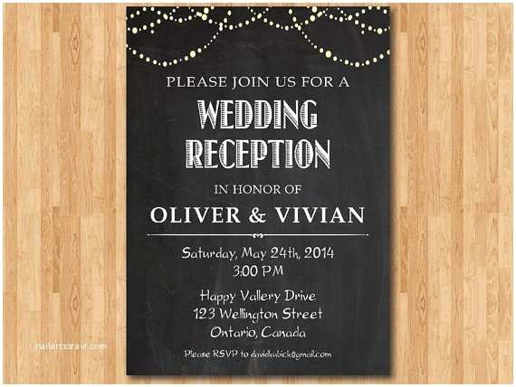 Wedding Reception Invitation Wording Already Married Wedding Reception Invitation Reception Invite Chalkboard