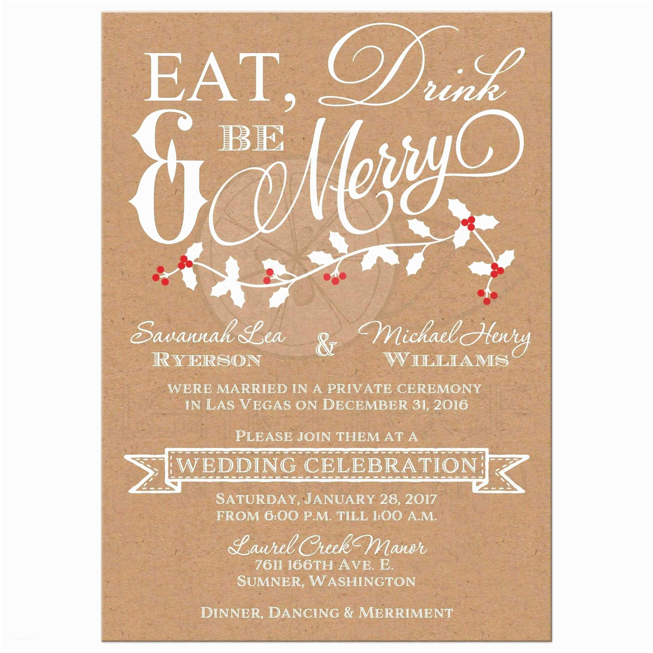 Wedding Reception Invitation Wording Already Married Winter Wedding Reception Invitation