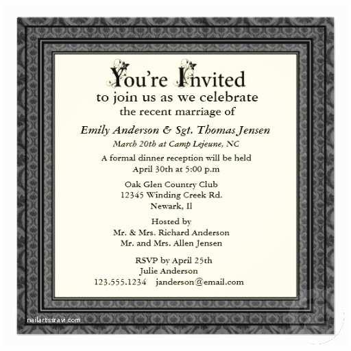 Wedding Reception Invitation Wording Samples Post Wedding Reception Invitation