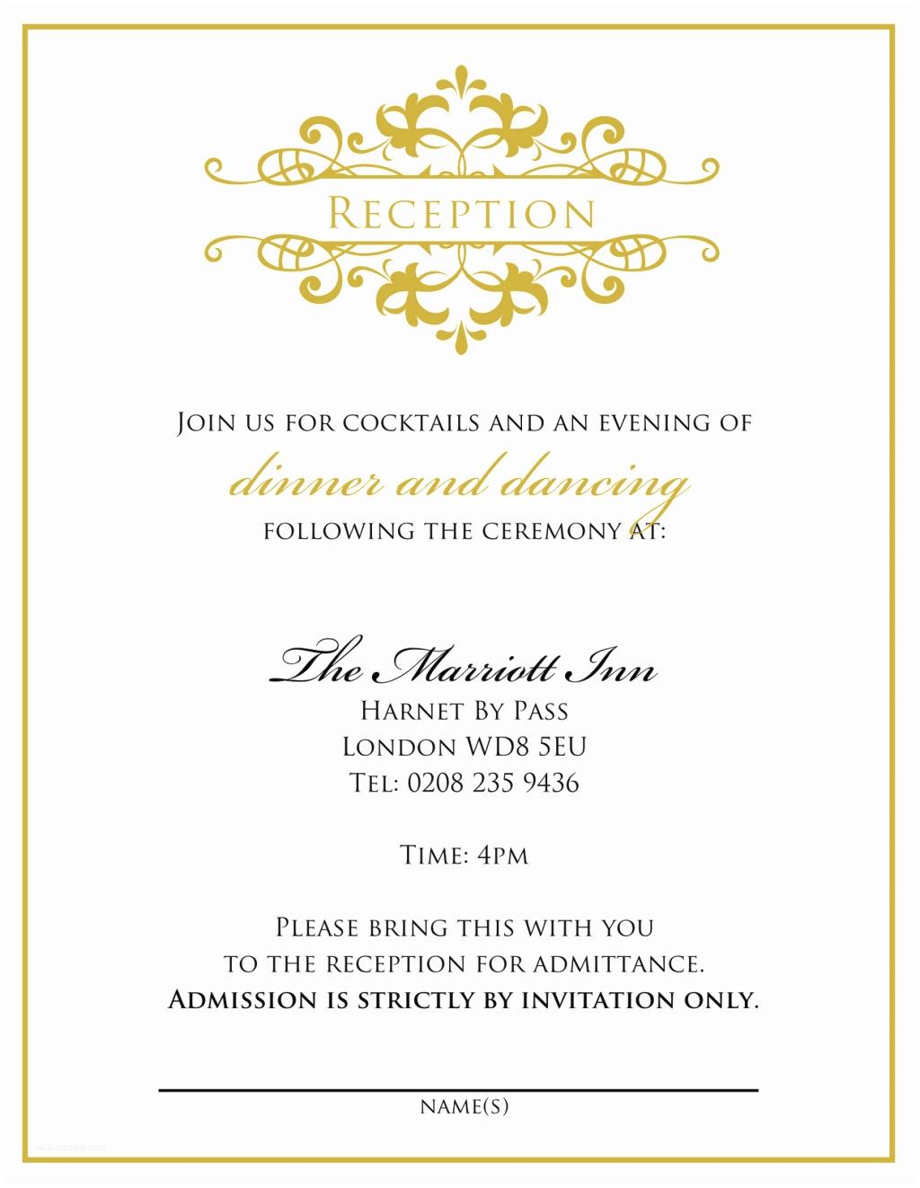 Wedding Reception Invitation Wording Wedding Invitation Wording From Bride and Groom