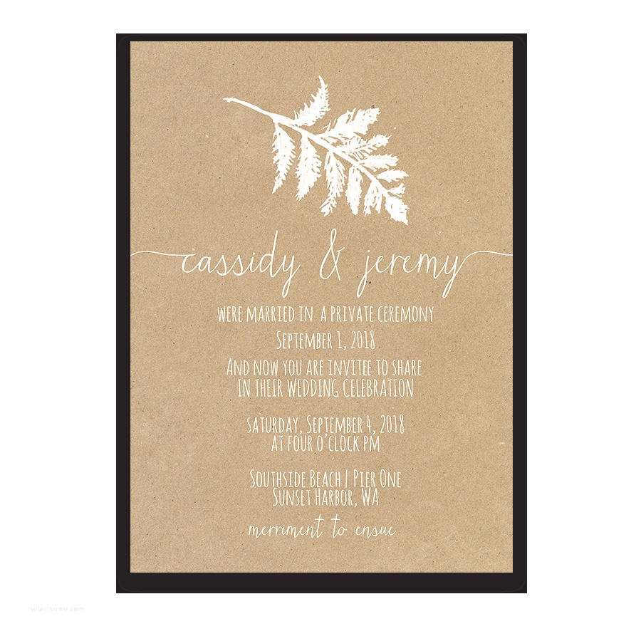 Wedding Reception Invitations Fern Wedding Reception Ly Invitation Kraft Paper