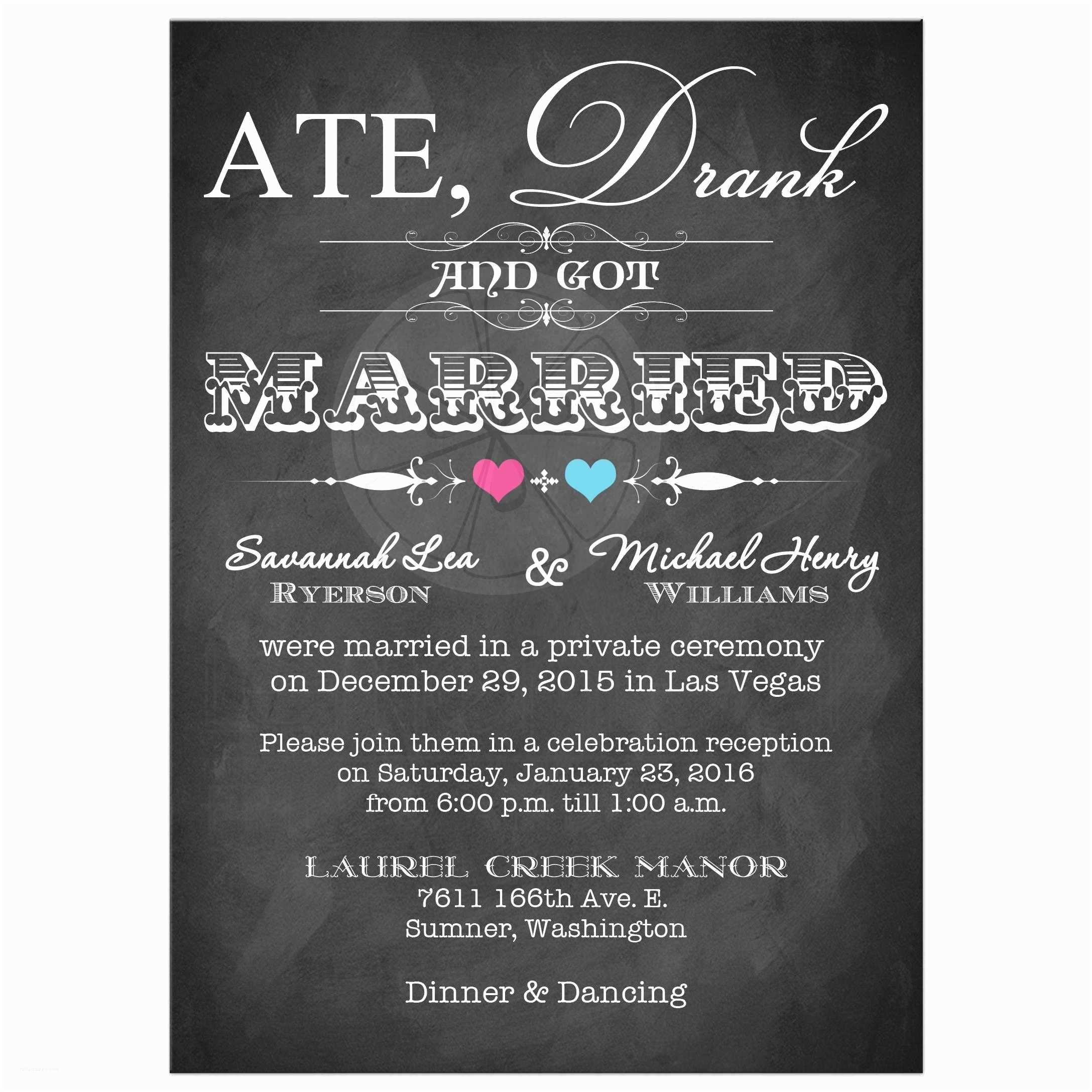 Wedding Reception Invitations Post Wedding Invitation Chalkboard Scrolls