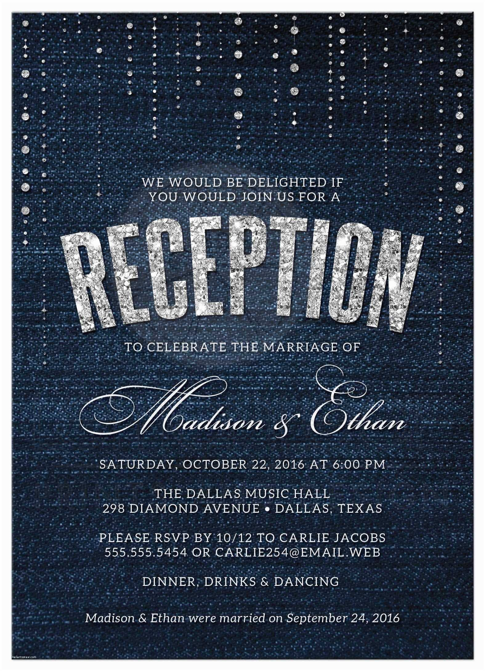 Wedding Reception Invitations Post Wedding Reception Ly Invitations Denim & Diamonds