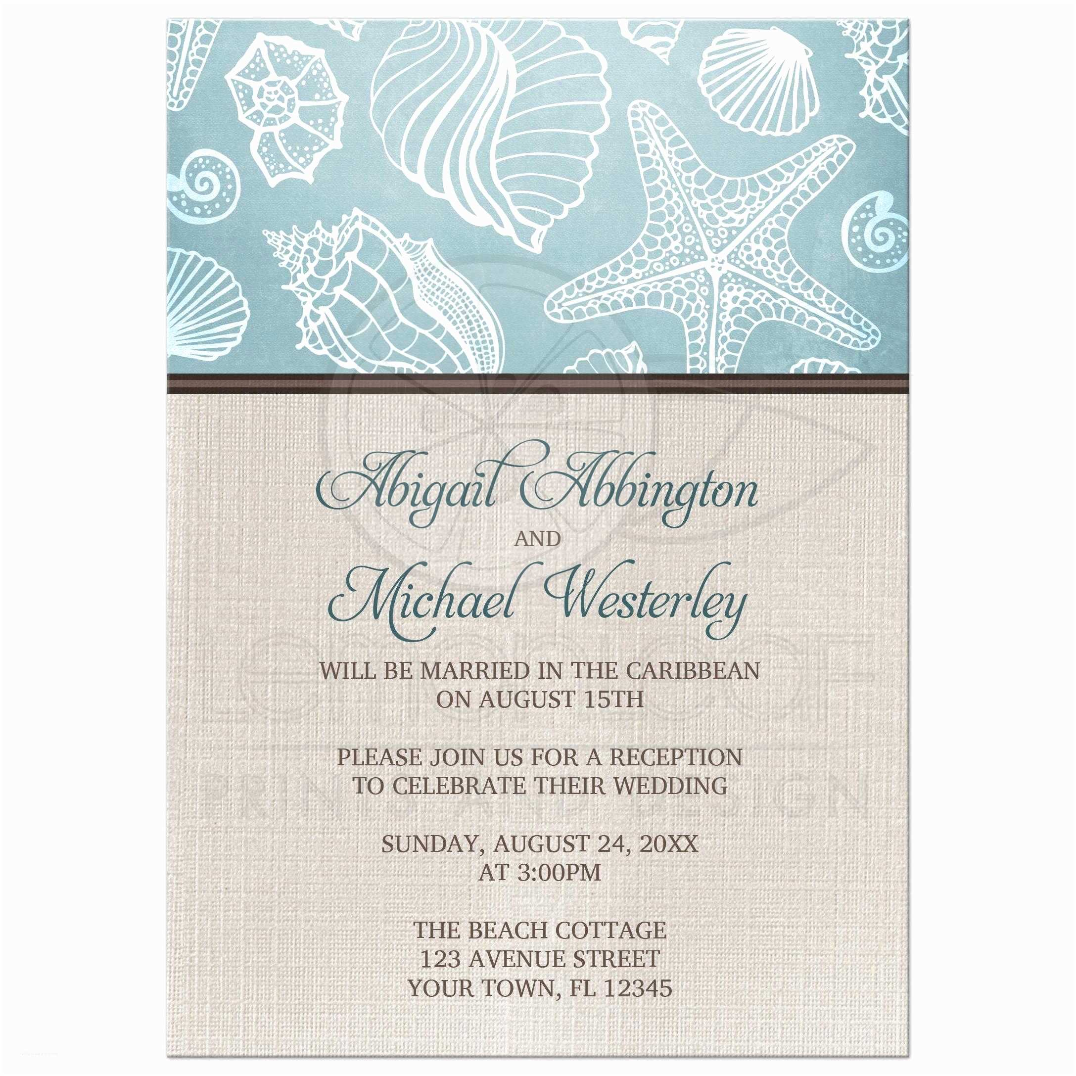 Wedding Reception Invitations Reception Ly Invitations Rustic Beach Seashells Linen