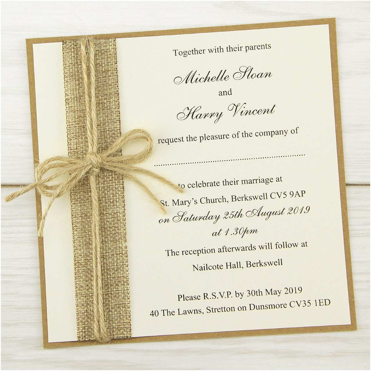 Wedding Reception Invitations Rustic Burlap Layered Square