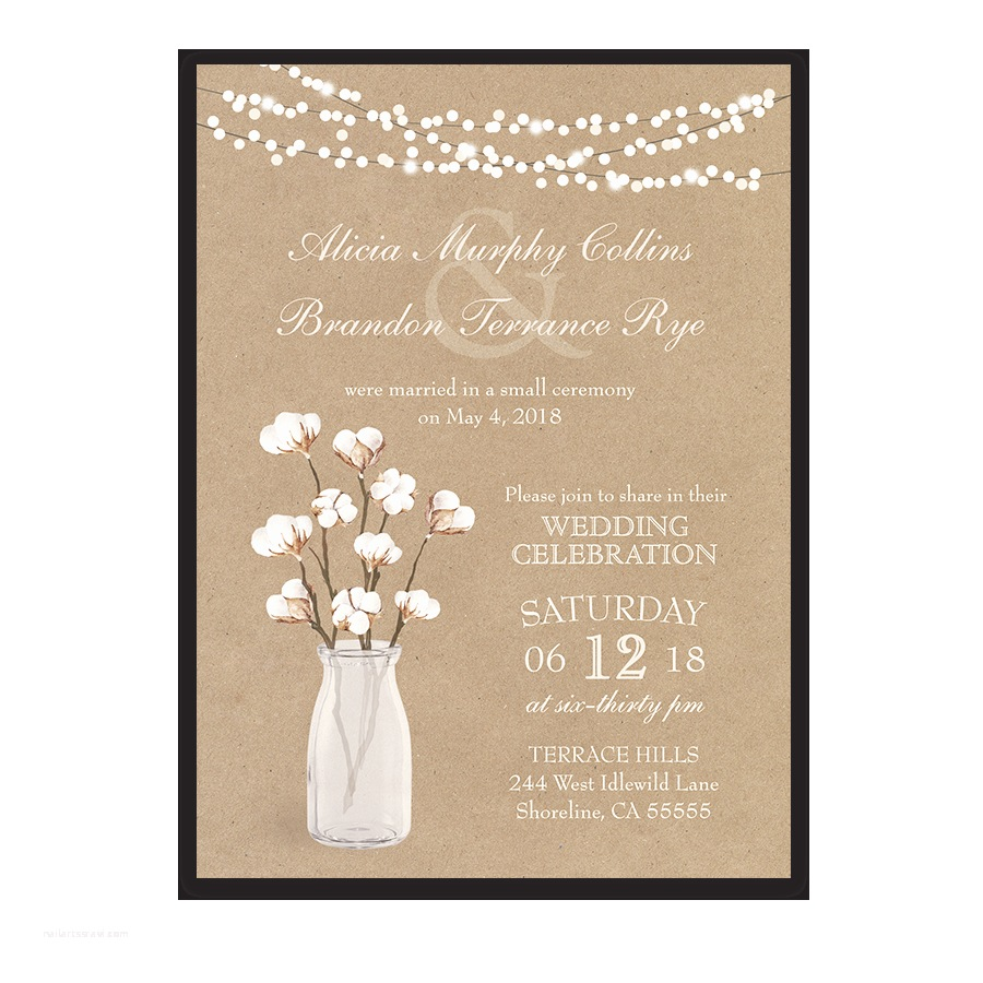 Wedding Reception Invitations Rustic Cotton theme Wedding Reception Ly Invitation