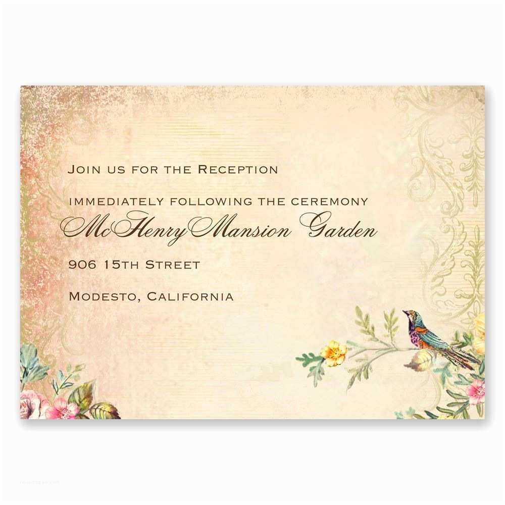 Wedding Reception Invitations Vintage Birds Reception Card
