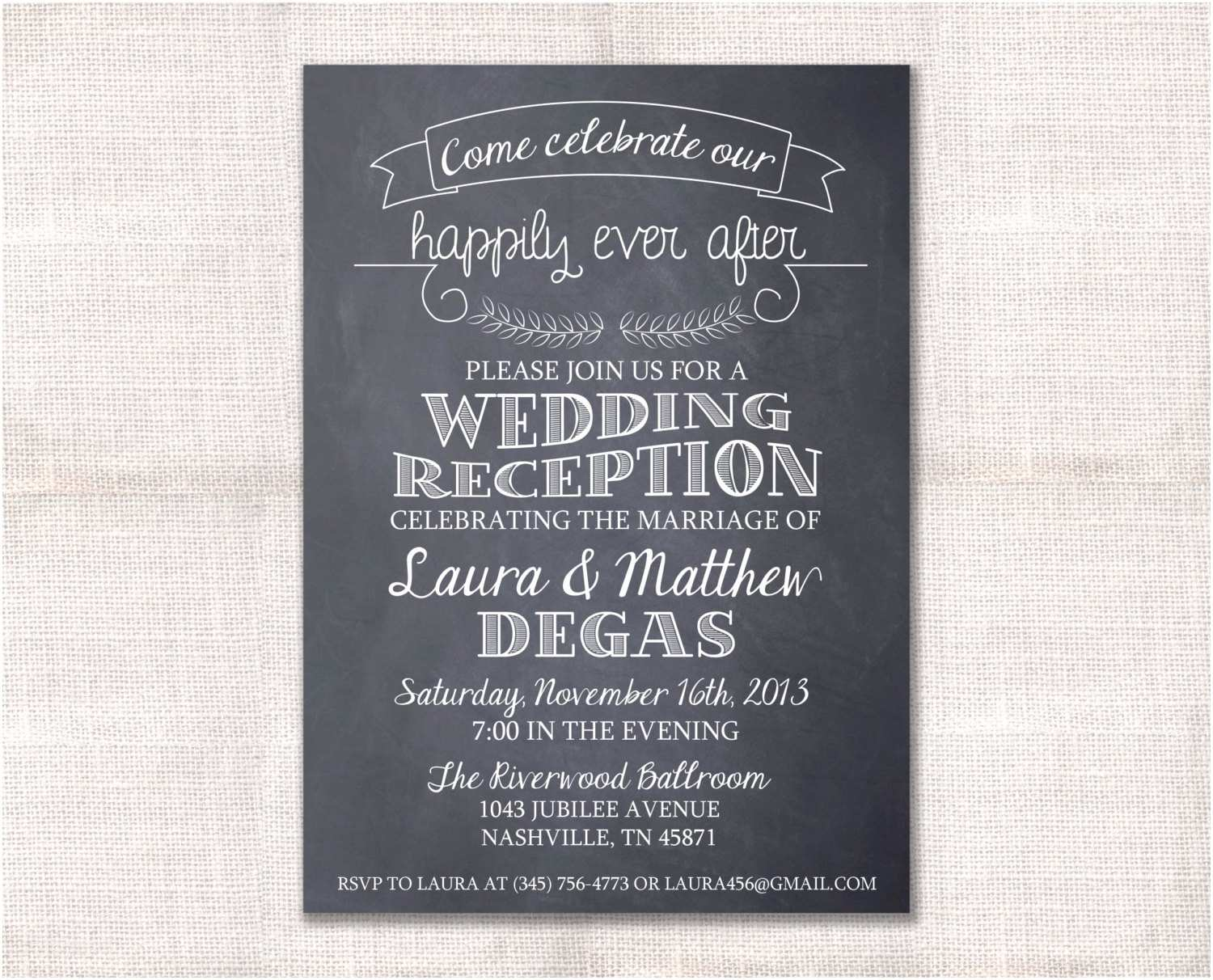 Wedding Reception Invitations Wedding Reception Celebration after Party Invitation Custom