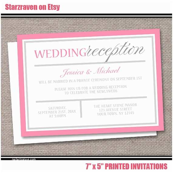 Wedding Reception Only Invitations Pink Reception Ly Wedding Invitations by Artisticallyinvited