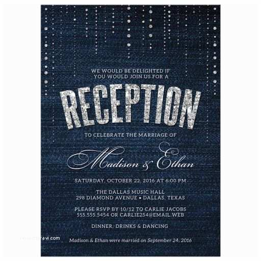 Wedding Reception Only Invitations Post Wedding Reception Ly Invitations Denim & Diamonds