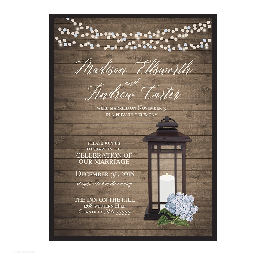 Wedding Reception Only Invitations Rustic Lantern Wedding Reception Ly Invitations Blue