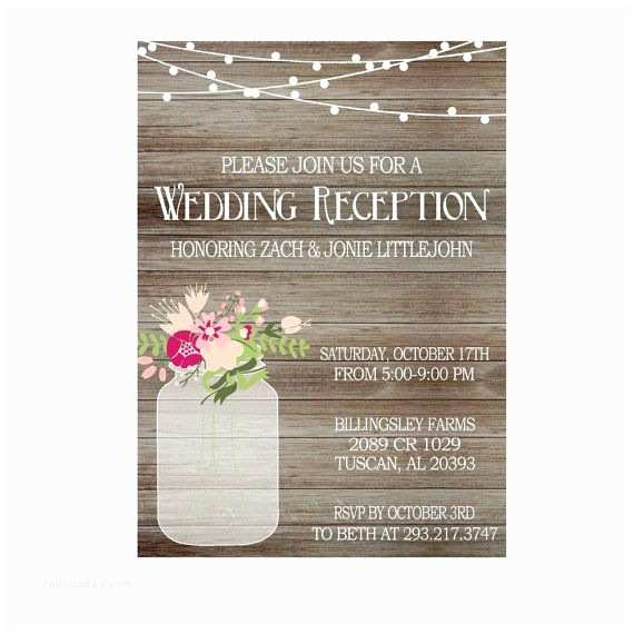Wedding Reception Only Invitations Rustic Wedding Reception Invitation with Lights Mason Jar