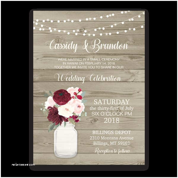Wedding Reception Only Invitations Rustic Wedding Reception Ly Invitation Mason Jar