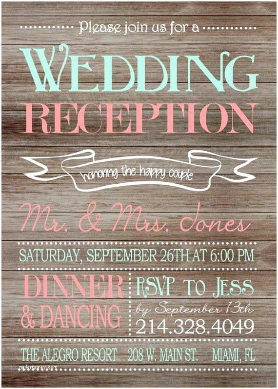 Wedding Reception Only Invitations Rustic Wedding Reception Ly Invitation On Wooden