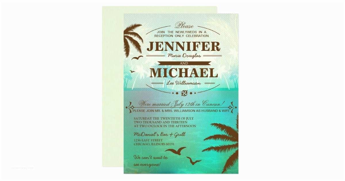 Wedding Reception Only Invitations Tropical Beach Wedding Reception Ly Invitations