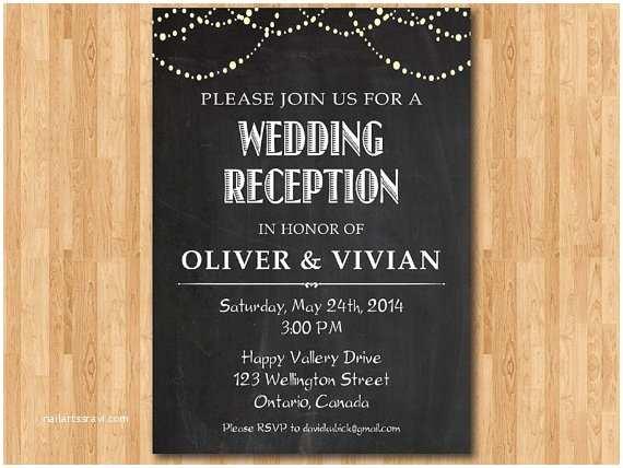 Wedding Reception Only Invitations Wedding Reception Invitation Reception Invite Chalkboard
