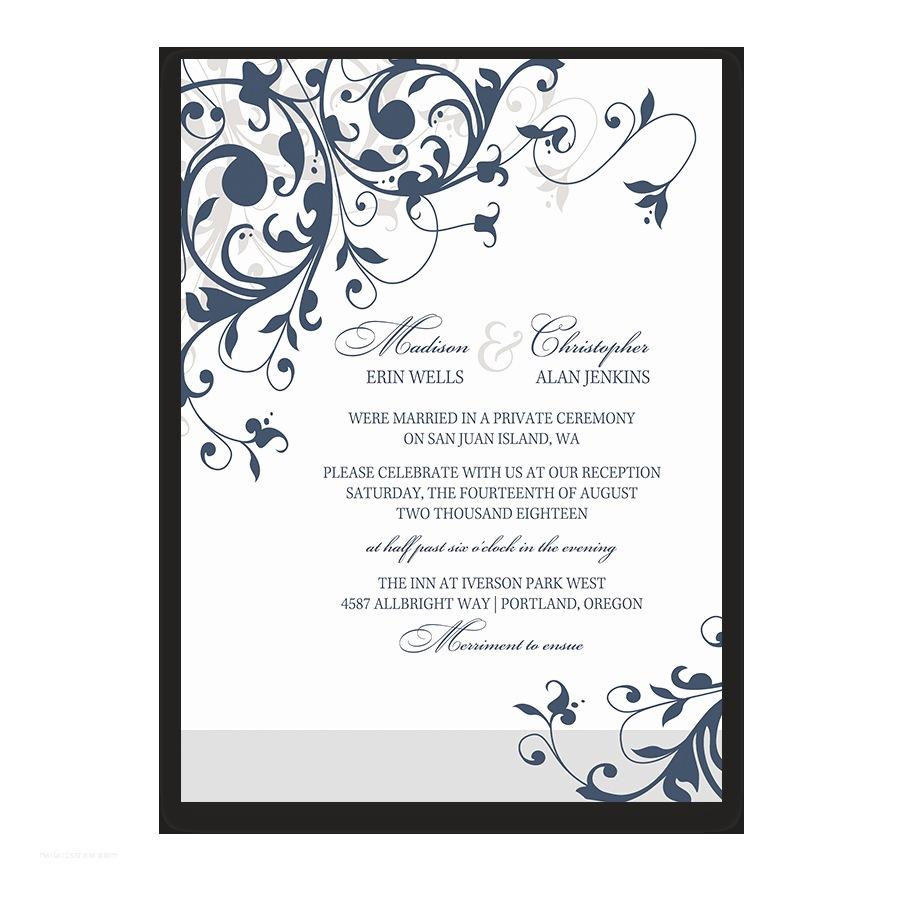 Wedding Reception Only Invitations Wedding Reception Ly Invitation Navy Blue Floral