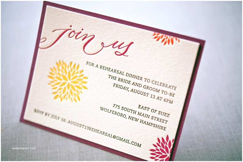 Wedding Rehearsal Dinner Invitation Wording Whitney A K S Colorful Letterpress Wedding Invitations