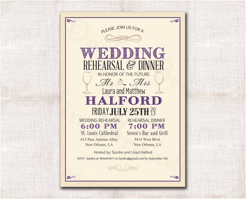 Wedding Rehearsal Dinner Invitations Wedding Rehearsal Dinner Invitation Custom Printable
