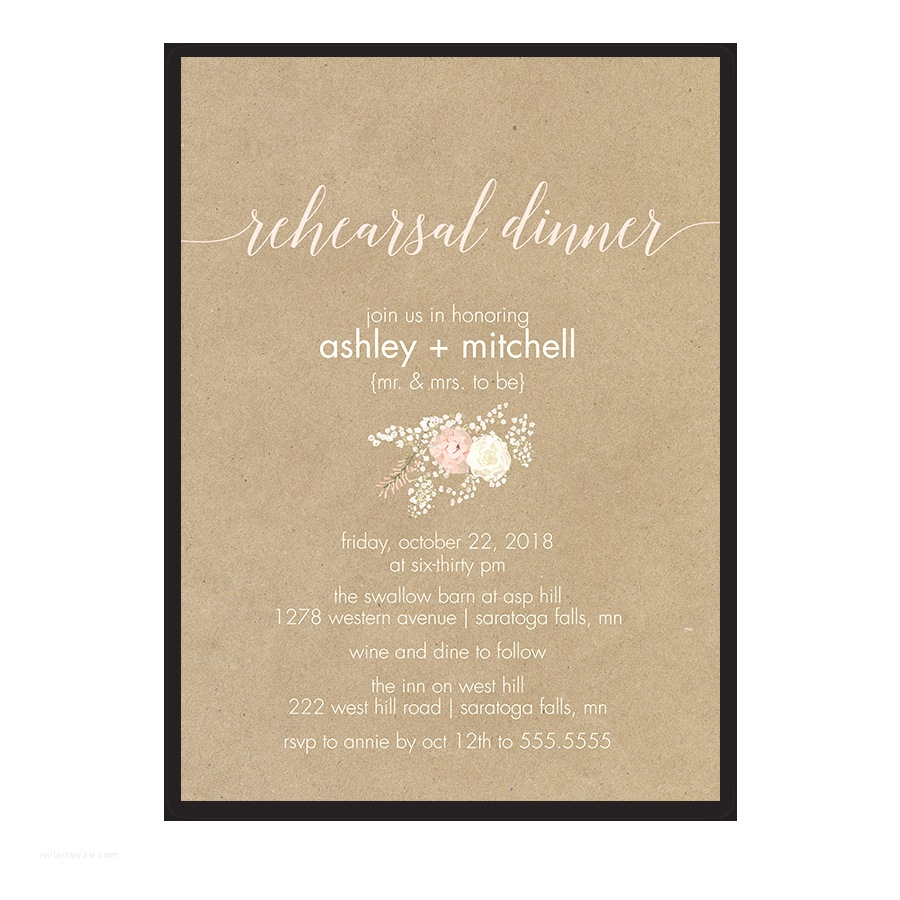 Wedding Rehearsal Invitations Floral Wreath and Antler Kraft Wedding Ceremony Program