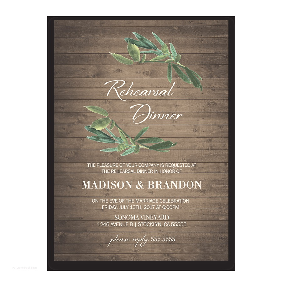 Wedding Rehearsal Invitations Rustic Wedding Rehearsal Dinner Invitation with Greenery
